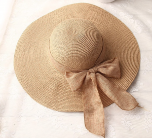 Female ribbon bow-knot wide brim beach hat